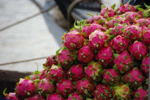 Dragonfruit at a floating market in Vietnam