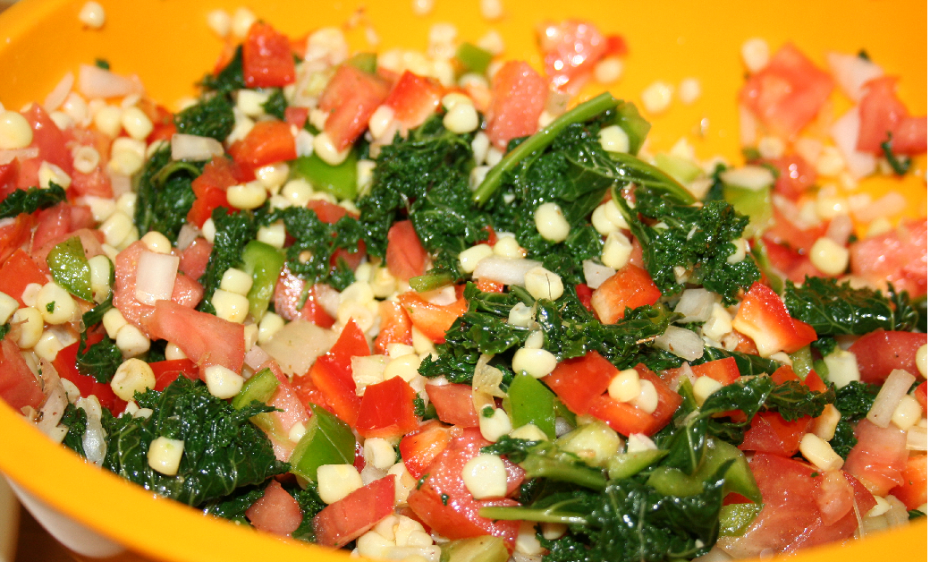 kaleandcornsalad Virtually Veggie: Cajun Corn & Kale Salad