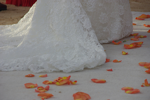 A Wedding Dress on Jamaica's Sand