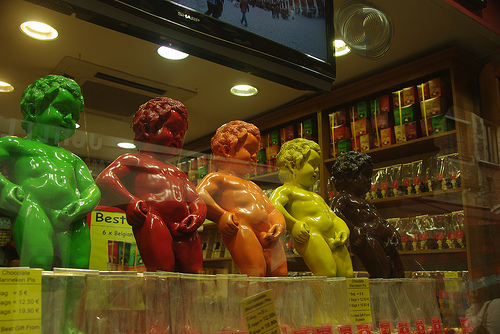 Belgian Chocolate Mannequin Pis statues in Brussels