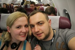 picture of us in the plane to Asia 250x166 How to combine work with travel? Karolina and Patryk's story